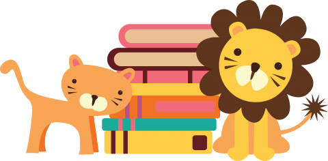Toy tiger and lion next to stack of books
