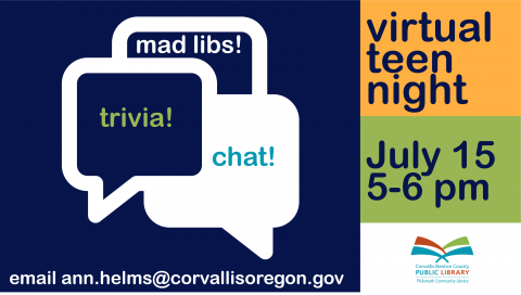 Ad for Philomath Virtual Teen Night, July 15, 5-6pm